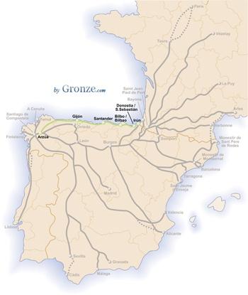 Mapa del Camino del Norte Gronze