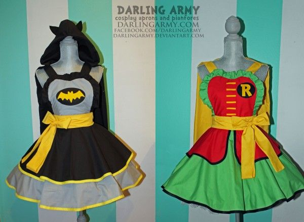 Batman and Robin pinafores... could make into cute aprons!