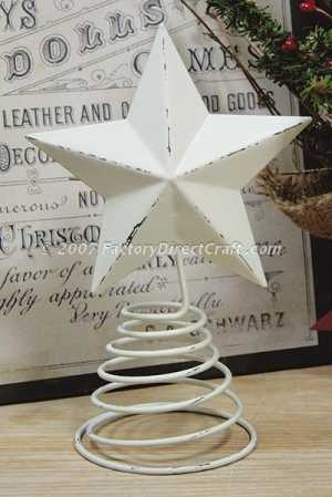 "11-1/2"" Primitive Distressed White Washed Metal Star Tree Topper"