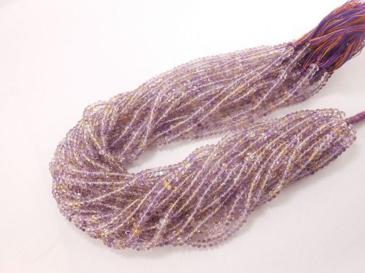 "13"" AAA Natural Ametrine Rondelle smooth gemstone beads 4mm Semiprecious beads  #GemstoneTopper #Smooth"