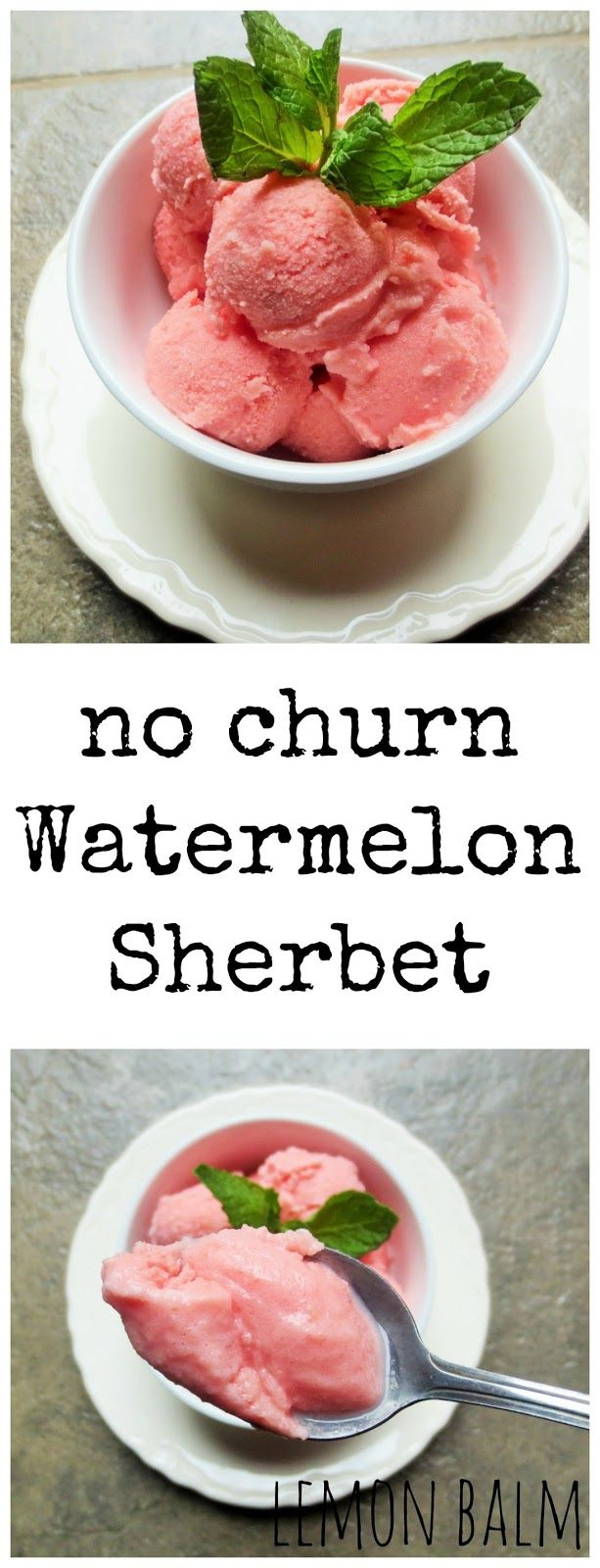 No Churn Watermelon Sherbet http://macthelm.blogspot.com/ This two ingredient No Churn Watermelon Sherbet is sweet and creamy!
