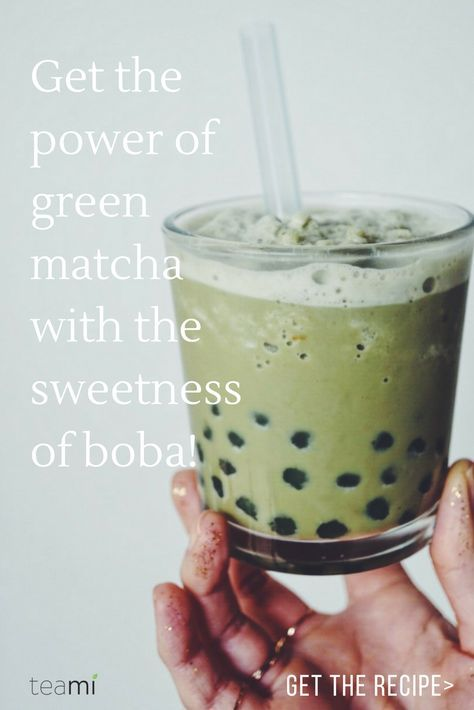 This Matcha Green Tea Boba drink combines all the power of matcha green tea with the sweetness of boba. Get the recipe: http://www.teamiblends.com/RecipeInfo.asp?ID=85
