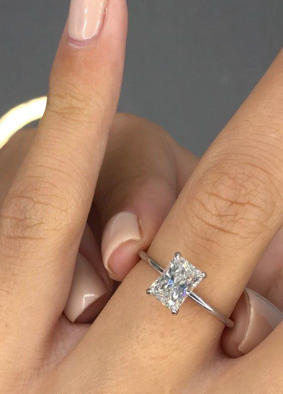 1 Carat Diamond Engagement Ring Solitaire Radiant Diamond Etsy Radiant Engagement Rings Radiant Diamond Rings Solitaire Engagement Ring
