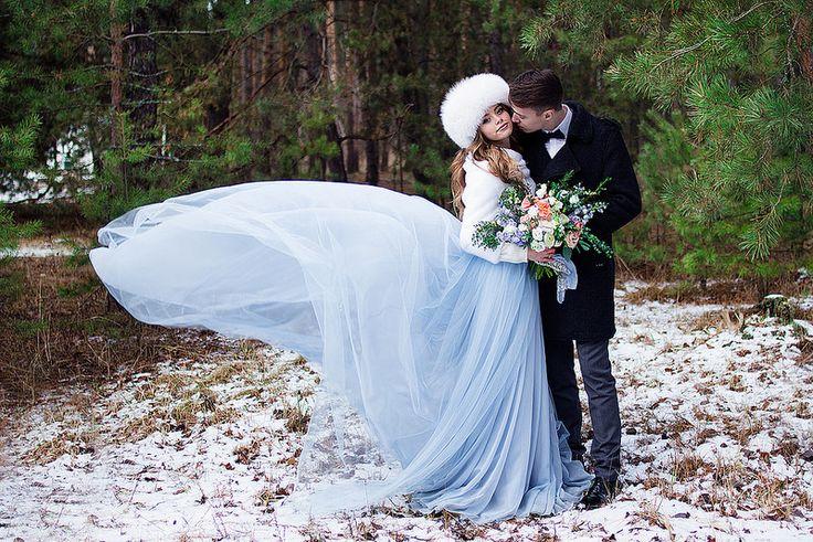 "A blue wedding gown for ""something blue"" winter wedding | fabmood.com"