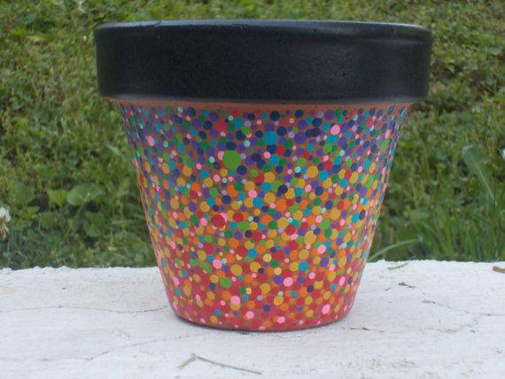 4 inch painted terra cotta pot