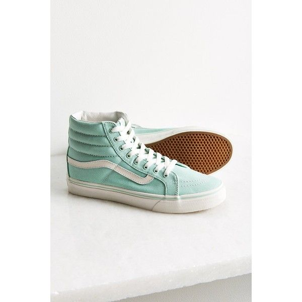 Vans Pastel Sk8-Hi Sneaker ($55) ❤ liked on Polyvore featuring shoes, sneakers, canvas sneakers, mint green shoes, canvas high tops, vans high tops and pastel shoes