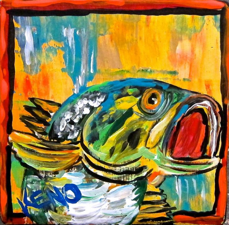 Large mouth bass fish tiny painting abstract maine folk for Bass fish painting