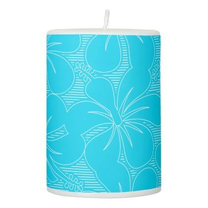 Blue Hibiscus lines Pillar Candle - floral style flower flowers stylish diy personalize
