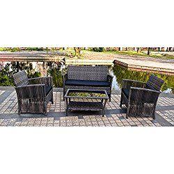 Sol Siesta Manhattan Beach Collection 4 Piece Conversation Set Of Resin  Wicker Patio Furniture, Grey