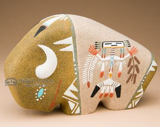 Native American Navajo Sand Painted Pottery -Buffalo (p642)