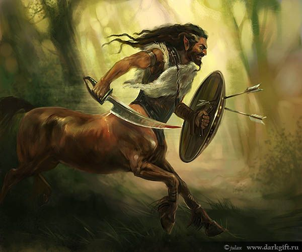 Male Centaur with curved blade and a small round steel shield and a leather cuirass