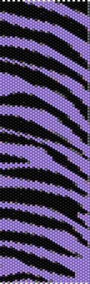 BPPT0001 Purple Tiger Even Count Single Drop Peyote Cuff/Bracelet Pattern