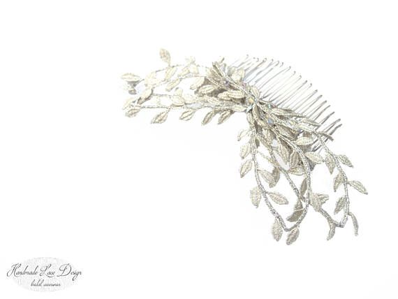 ♥ Rustic Bobbin Lace Wedding leaves hair grip with Swarovski Crystal Elements. The Lace Head Piece can be worn multiple ways with multiple hair styles.    These wedding hair accessories are the perfect finishing touch for brides and bridesmaids ♥   Comfortable to wear and easy to style. __________________________________________________________________________________________  ________________________________________  All laces are my design - from the first step - drawing - choice of…