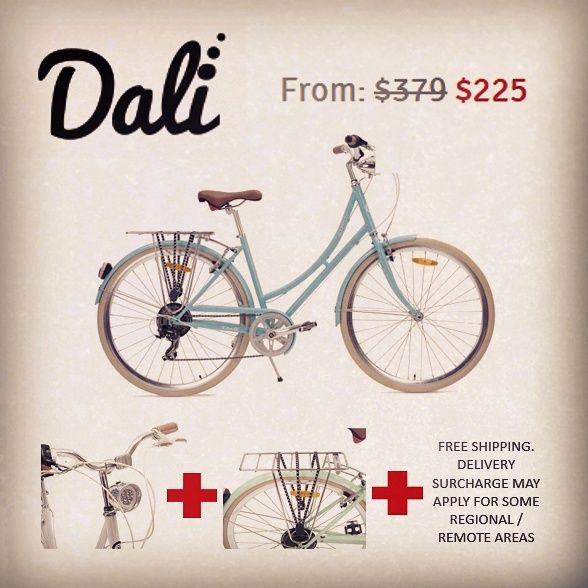 Amazingly priced from $225AU (RRP:$389). Bonus extras; rear carry rack, 7 LED light and bungee straps (valued at $60AU). Christmas shopping sorted! All new #Nixeycles #Dali. Triple painted with high gloss. Tig welded steel frame (46cm). Convenient step through frame. #Australia #Bicycle #Cruiser #BabyBlue #Velo #PedalPower #LetsRide #Lifestyle #Fitness #Christmas #HumanPower