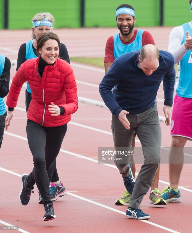 Catherine, Duchess of Cambridge and Prince Wiliam, Duke of Cambridge take part in a race during a training day for the Heads Together team for the London Marathon at Olympic Park on February 5, 2017 in London, England.
