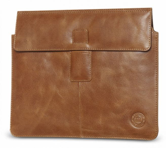 Golden tan leather envelope availabe for both iPad as well as iPad mini. Price: $70-80. More information: www.dbramante1928.com