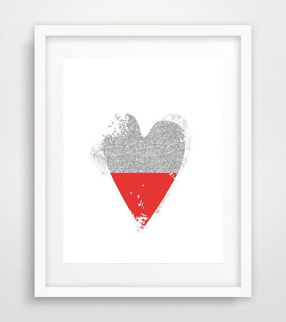 Printable red heart, Red heart, red heart print, silver heart print, love print…