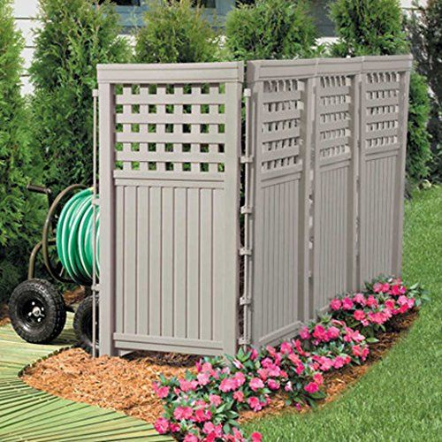 Made in usa taupe uv resistant 4 panel resin outdoor for Outdoor privacy fence screen