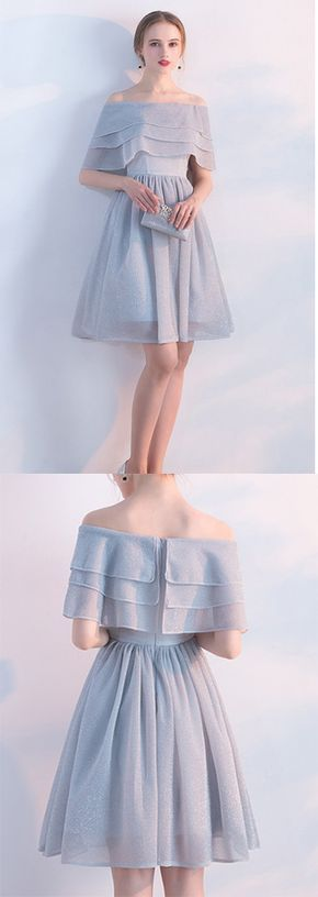 Elegant Short Off Shoulder Chiffon Homecoming Dresses, Cocktail Party Dresses