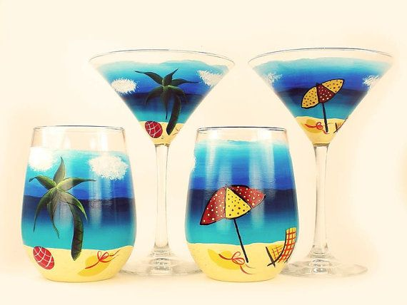Hand Painted Cocktail Set - Beach Scene, Original Design, Set of 2 Martini, 2 Stemless Wine Glasses - Beverage Set Housewarming Gift