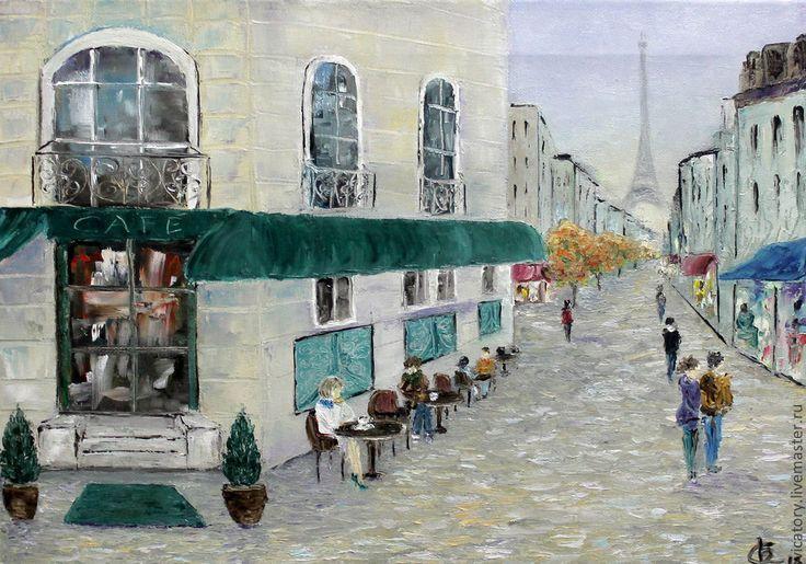 """Картина масло """"Утро в Париже"""" - мятный,Париж,утро,уличное кафе,осень,картина"""