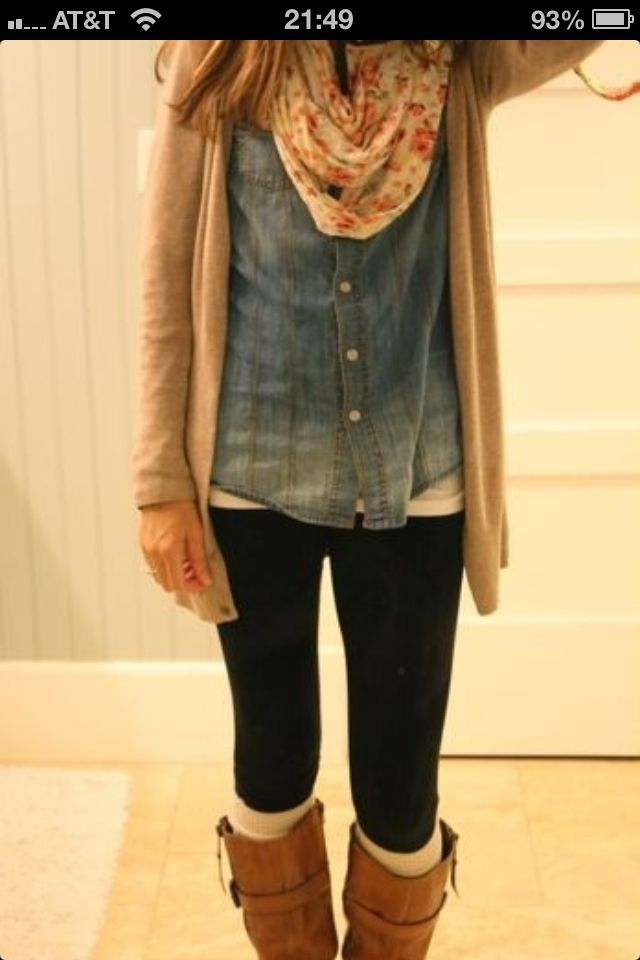 Okay, this outfit is sooo cute. I really need to get myself a floral scarves and a tan sweater