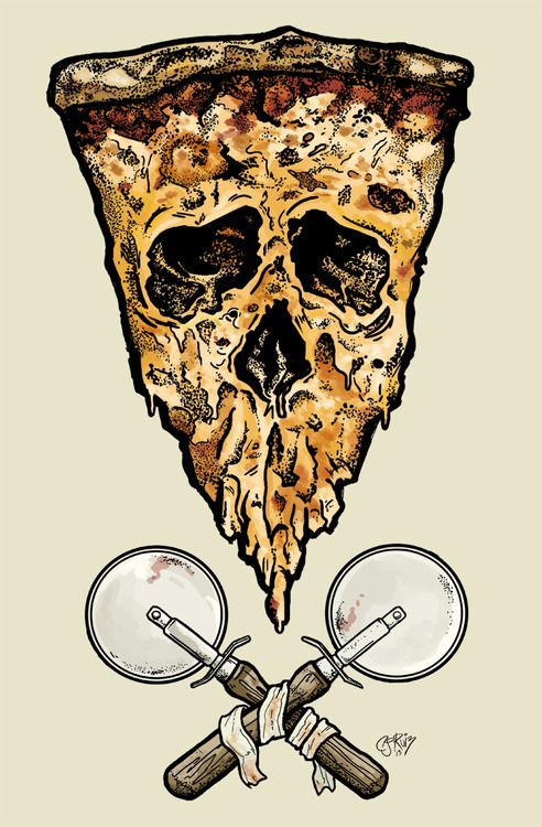 lazergunchillin:  I finally figured out how to combine my love with pizza with my love of skulls! I was going for that Pushead look, I think kinda almost got it, sorta.