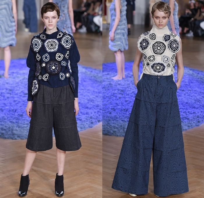 ANREALAGE 2017-2018 Fall Autumn Winter Womens Runway Catwalk Looks - Mode à Paris Fashion Week Mode Féminin France - Sculpture Organic Shape Structure Circles Spiral Twists Tiered Technical Tailoring Denim Jeans Stripes Shorts Mummy Wrap Asymmetrical Skirt Chunky Knit Doily Crochet Embroidery Decorated Ridges Wide Leg Trousers Palazzo Pants Silk Satin Ruffles Buttons Zippers Outerwear Coat Bomber Jacket Quilted Waffle Puffer Parka Handkerchief Hem Corduroy Topographical Armadillo Layers…