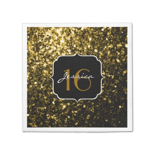 Beautiful Gold glitter sparkles (Sweet 16) Paper Napkins by #PLdesign #GoldSparkles #Sparkles #SparklesGift #Sweet16