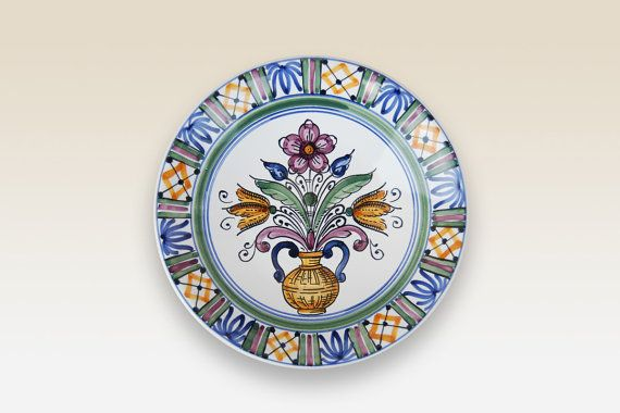 Dinner plate Medium Dinner Plate with blue yellow by HabanCeramic, Ft5250.00