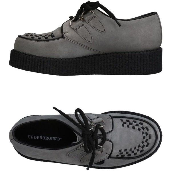 Underground Lace-up Shoe ($83) ❤ liked on Polyvore featuring shoes, grey, animal shoes, gray wedge shoes, laced shoes, logo shoes and gray shoes
