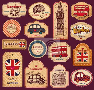 """Stickers """"vintage, angleterre, dessin - vintage étiquettes et les étiquettes avec des symboles de londres"""" ✓ Un large choix de matériaux ✓ Nous adaptons le produit à vos besoins ✓ Regardez des opinions de nos clients !"""