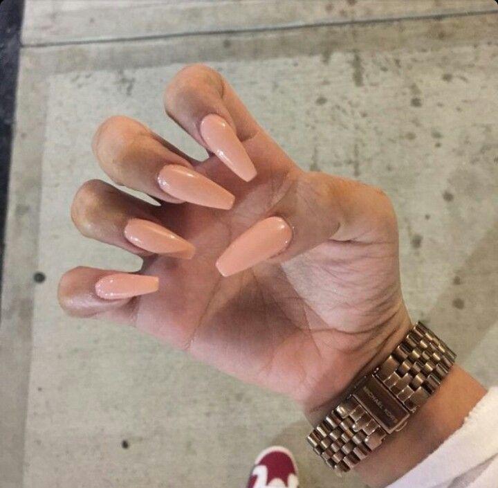 Peach Coffin Shape Acrylic Nails