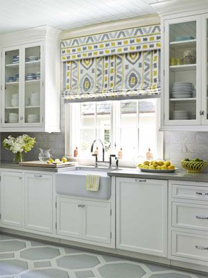 Roman shade. Interior by Lindsey Coral Harper: Cabinets, Idea, Romans Shades, Floors, Colors, Sinks, Window Treatments, Roman Shades, White Kitchens