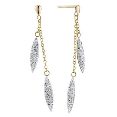 9ct Yellow Gold Crystal Needle Drop Earrings- H. Samuel the Jeweller