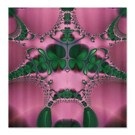 Lucky Clovers Pink Spring Shower Curtain #circusvalley