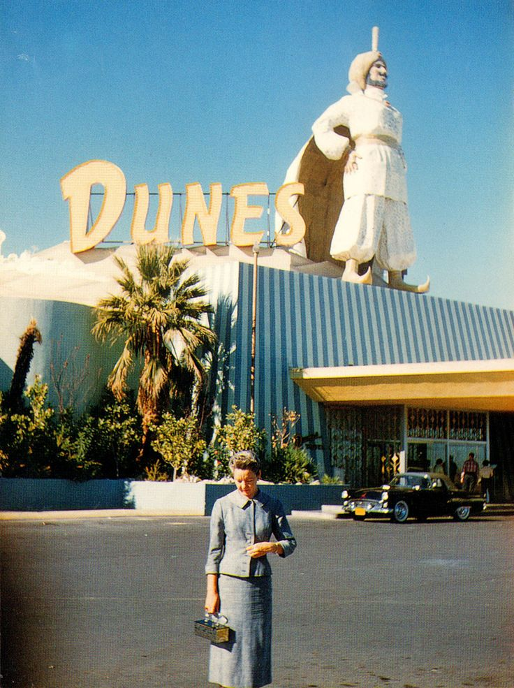 In front of the Dunes, Las Vegas, circa 1955. Now the Belagio.✿❀
