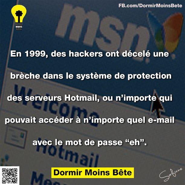 """En 1999, des hackers ont décelé une brèche dans le système de protection des serveurs Hotmail, ou n'importe qui pouvait accéder à n'importe quel email avec le mot de pasee """"eh""""."""