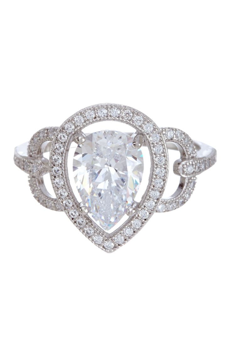 White Micro Pave Simulated Diamond Pear Ring on HauteLook