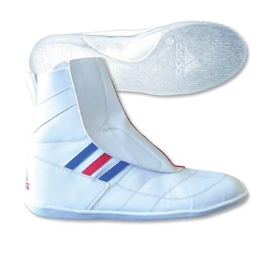 Chaussures de boxe française compétition adidas blanche - ADISFB03