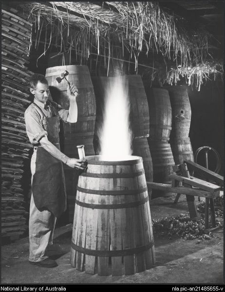 Sievers, Wolfgang, 1913-2007. Cooper making winebarrels, Gramp & Sons, Orlando Wineries, Barossa Valley, South Australia [picture]