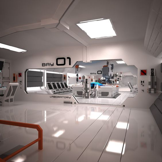 3ds max futuristic sci fi laboratory /// Cool image, I envisioned a taller main room with an overhang and sealed office (chapter 2), but this is pretty close. - Adrian Mendoza, author of The Kaleidoscope: