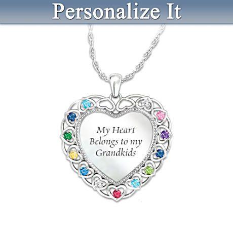 Personalized Grandma Birthstone Necklace With Grandkids