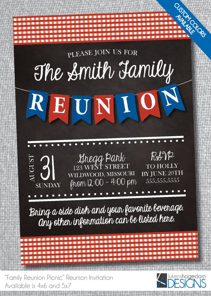 24 Best Class And Family Reunion Invitations Images On Pinterest