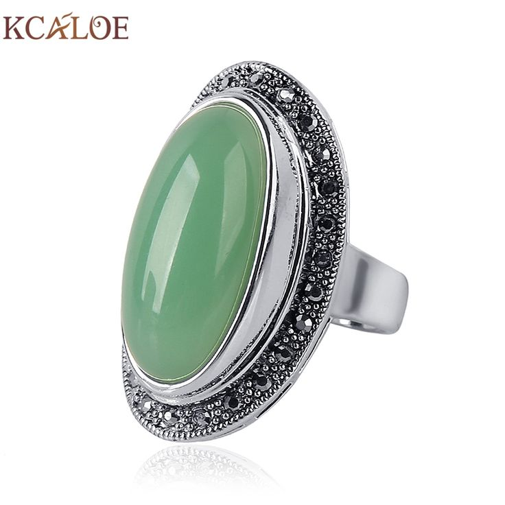 Lady Women Green Jade Agate Ring Charm Brand Jewelry Antique Black Rhinestone Natural Stone Wedding Anniversary Rings Anillos