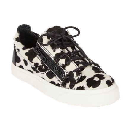 Giuseppe Zanotti Leopard-Print Haircalf Double-Zip Sneakers Sale up to 70% off at Barneyswarehouse.com