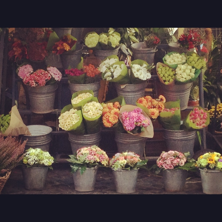 Street corner flower shop in Rome, Italy. It's all about the galvanized metal buckets here...