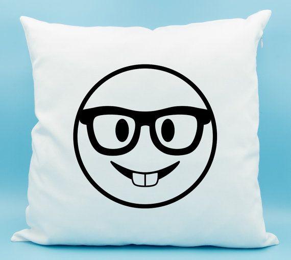 Nerd Face Emoji Pillow  Nerd Face Emoji Cushion  by LadyMaggies