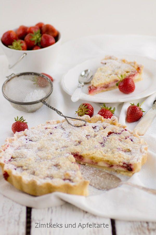 Zimtkeks und Apfeltarte: Absolutes WOW-Rezept: Erdbeer-Cheesecake-Pie mit Zitrus-Streuseln