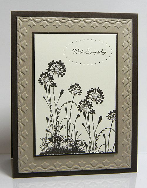 •Serene Silhouettes Stamp Set   •Cardstock:  Early Espresso, Very Vanilla, Crumb Cake   •Ink:  Early Espresso   •Accessories:  Essentials Paper Piercing Pack, Tulip Border Embossing Folder, Pearls, Paper Piercing Tool, Paper Pierce Mat